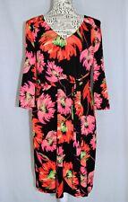 LEONA EDMISTON Size 12 Pink Black Floral Stretch Faux Wrap 3/4 Sleeve Dress