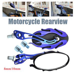 Pair Universal 8mm 10mm Motorcycle Scooter Dirt Bike Rear View Side Mirror Color