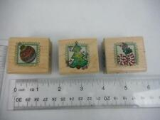 Inkadinkado SWIRLY Lot of 3 CHRISTMAS WM Rubber Stamps Bulb -Tree- Stockings
