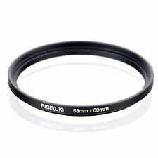 RISE(UK) 58mm-60mm 58-60 mm 58 to 60 Step Up Ring Filter Adapter black