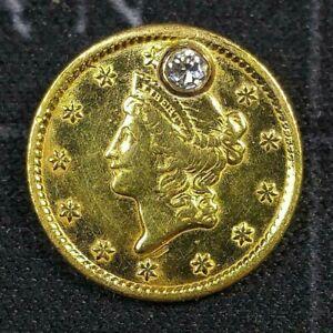 1849 One Dollar Gold Liberty w/Diamond