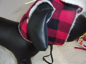 Red Black Checks TRAPPER HAT Dog Cap Bond & Co new M/L bomber