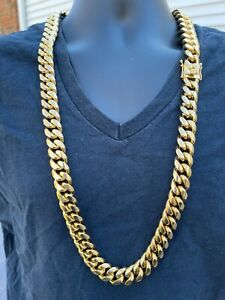 """Mens Real Miami Cuban Link KILO Chain 14k Gold Over Stainless Steel 18mm BIG 36"""""""