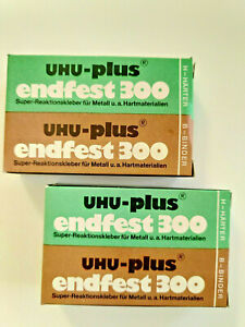 2 x UHU Plus Endfest 300 Binder & Härter Set aus den 60-70ern ! Unbenutzt in OVP