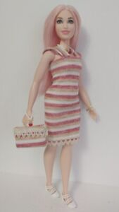Fits CURVY BARBIE DOLLS - CLOTHES Dress Purse and Jewelry - Fashion NO DOLL d4e