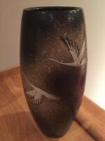 """Flying Cranes Art Pottery 11 1/4"""" Splatter Glazed Vase w/ Incised Maker's Mark"""