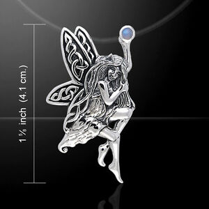 Fairy Holding Gem .925 Sterling Silver Pendant by Peter Stone Fine Jewelry