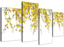 Large White and Yellow Orchids - Flower Canvas Multi 4 Panel - 130cm Wide - 4263