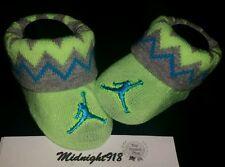 Nike Air Jordan Baby Newborn Infant Unisex Booties 0-6M Light Neon Grey Turquois