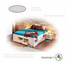 Lit double multi-fonction adulte 2 places 160 x 200 multi-rangement blanc pin...