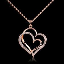 Collar dorado de corazones unidos decorados con cristales regalo mujeres
