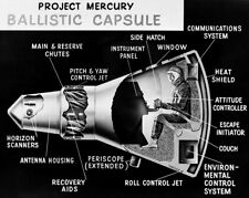 NASA PROJECT MERCURY CAPSULE CUTAWAY DRAWING 11x14 SILVER HALIDE PHOTO PRINT