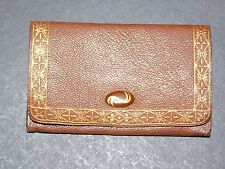 TAN LEATHER SMALL PURSE WITH GOLD PATTERN AROUND EDGE & OVAL CLASP c1930's-40's