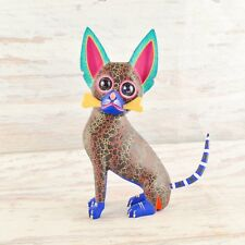 Magia Mexica A1585 Dog Alebrije Oaxacan Wood Carving Painting Handcrafted