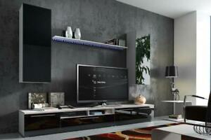 Wall Unit High Gloss Wall Wohnwände Room Wardrobe Display Case With LED New