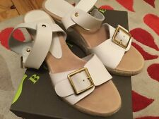 women Jones bootmaker sandals wedges white leather size 3