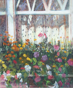Judith Scott Untitled windowsill & flowers Hand Signed Original Pastel Drawing