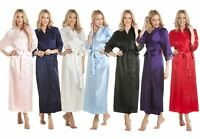 Womens Luxury Satin Long Laced Dressing Gown Robe Various Colours Size 10-24