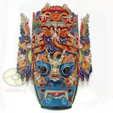 China Folk Art Wood Hand Carved Painte NUO MASK Walldecor Art-DRAGON KING Deity