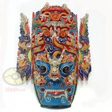 China Folk Art Wood Hand Carved Painte NUO MASK Walldecor Art-DRAGON KING Deity