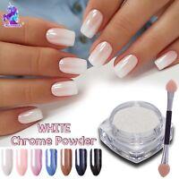 WHITE CHROME POWDER Matte Pigment Pearl Nails Nail Art Crystal Shiny Dust M4