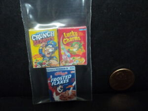 DOLLHOUSE BREAKFAST CEREAL BOXES- 3PC.