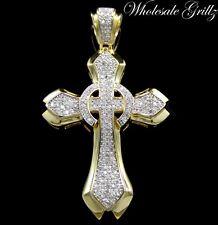 NEW!!! $249 MENS 14K GOLD GP SIMULATE DIAMOND HIP HOP CROSS PENDANT JESUS PIECE!