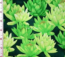 1Yd Water Lilies Plant Pond Flower Landscape Nature Clothworks Sew Fabric Green