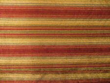 Chenile horizontal stripe upholstery material in reds, golds, taupes