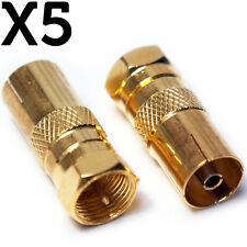 5x F-Tipo Conector Macho a Hembra Zócalo De Antena De Televisión Adaptador Convertidor-RF Coaxial