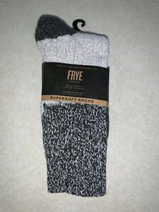 FRYE Women's Crew Socks 2 Pairs Super Soft Socks Black & Heather Charcoal New