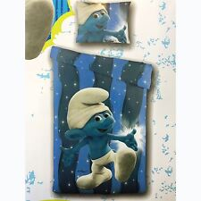 SMURFS BLUE SINGLE DUVET COVER SET CHILDRENS KIDS BOYS BEDDING NEW