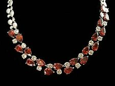 14k White Gold GF Necklace made w/ Swarovski Crystal Red & Clear Stone Statement