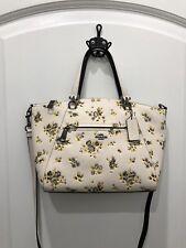 *NWT Coach Pebble Leather Prairie Print Satchel Crossbody Bag F87109 Chalk Multi