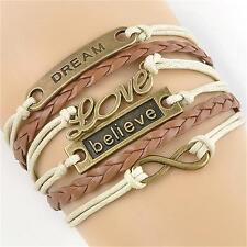 Newest Handmade Dream Infinity Love Leather Charm Bracelet Multilayer wristband