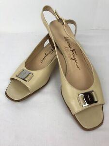 Salvatore Ferragamo Boutique Tan Peep Toe Sling Back Pumps Shoes Sz 7.5 AA
