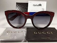 New Authentic Gucci Soft Cat Sunglasses Blue Red Glitter Gray Gradient Lens 53mm