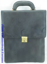 Vtg Hato Hasi Large Leather Black Briefcase Office Case Organizer Business Bag