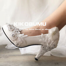 White Ivory Lace Blossom Wedding shoes Bridal bridesmades flats low high heel