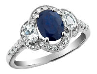 1.75 Carat (ctw) White & Blue Sapphire Ring w/ Diamonds in 10K White Gold