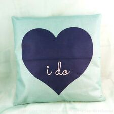 US Seller-heart love I DO vintage retro cotton linen cushion cover couch pillows