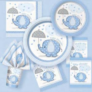 Baby Shower Party Boy Birthday Light Blue Elephant Decor Set Items
