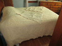 Vintage Matelasse Coverlet & Shams Queen 90x100 Yellow/White Cotton Bed Cover