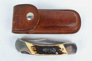 Vintage USA Uncle Henry Schrade LB8 Single Blade Pocket Knife w/ Leather Case