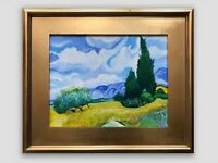 "Vincent Van Gogh ""Wheat Field With Cypresses"" Hand Painted Copy Oil on Canvas"