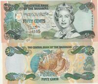 BAHAMAS 1/2 DOLLAR FIFTY CENTS 2001 UNC BANKNOTE