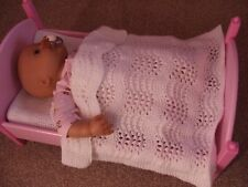 DOLLS HAND KNITTED BLANKET, COT / PRAM / BABY ANNABEL,  WHITE LACE PATTERN