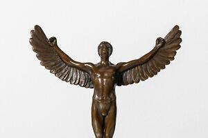 HZ Bronze Figur Skulptur Icarus Modernist Engel Marmor Sockel Angel Akt