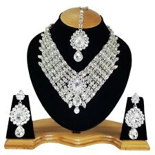 Bridal Designer Silver Plated Handmade Zerconic Kundan Necklace Set Earring tika