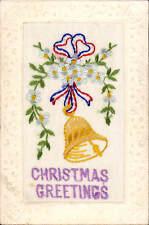 Embroidered WW1 Silk. Christmas Greetings by M.J.o.B.,Paris.
